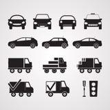 Icone piane scolpite della siluetta, vettore Insieme delle automobili differenti nella p illustrazione di stock