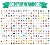 280 icone piane semplici di vettore Immagini Stock
