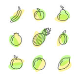 Icone piane stabilite dei frutti che disegnano le linee su un fondo bianco Immagine Stock Libera da Diritti