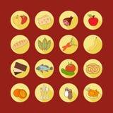 Icone piane stabilite di web di vettore con alimento Ombra lunga delle derrate alimentari multicolori tirate del fumetto nel tela Immagini Stock Libere da Diritti