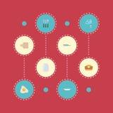 Icone piane tagliere, omelette, padella ed altri elementi di vettore L'insieme dei simboli piani delle icone dell'alimento inoltr Fotografia Stock Libera da Diritti