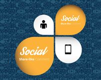 Icone piane in una forma del fumetto: tecnologia, media sociali, rete, concetto del computer di collegamento Gruppo astratto del  Fotografia Stock