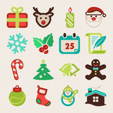 Icone piane variopinte di Natale Fotografia Stock