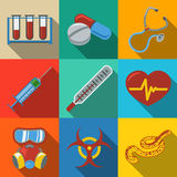 Icone piane variopinte di sanità e della medicina messe illustrazione di stock