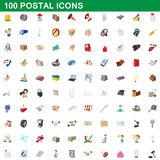 100 icone postali messe, stile del fumetto Fotografia Stock Libera da Diritti