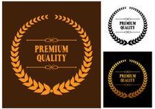 Icone premio della corona dell'alloro di qualità Immagini Stock Libere da Diritti
