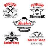 Icone premio di vettore del salone del negozio di barbiere messe illustrazione di stock