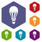 Icone principali della lampadina messe Immagini Stock