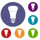 Icone principali della lampadina messe Fotografia Stock Libera da Diritti