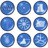 Icone pulite di energia alternativa di vettore Fotografia Stock
