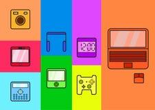 Icone quadrate dell'aggeggio Immagine Stock