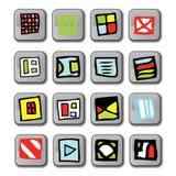 Icone quadrate lucide Immagini Stock