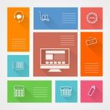 Icone quadrate piane per il deposito di web Immagini Stock