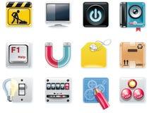 Icone quadrate universali di vettore. Parte 5 (backg bianco Immagini Stock