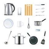 Icone realistiche degli utensili della cucina messe Immagine Stock