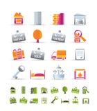 Icone realistiche del bene immobile Fotografia Stock