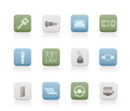 Icone realistiche delle parti e di servizi dell'automobile Immagini Stock