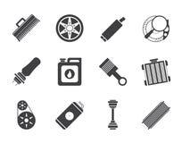 Icone realistiche delle parti e di servizi dell'automobile della siluetta Fotografia Stock