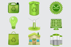 Icone realistiche di Eco Fotografia Stock Libera da Diritti