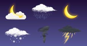 Icone realistiche moderne del tempo messe Simboli di meteorologia su fondo trasparente Illustrazione di vettore di colore per il  illustrazione vettoriale