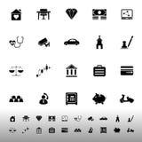 Icone relative di assicurazione su fondo bianco Fotografia Stock