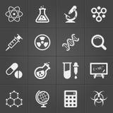 Icone relative di fisica e di scienza sul nero Vettore Fotografia Stock Libera da Diritti