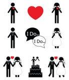 Icone relative di nozze Fotografia Stock Libera da Diritti
