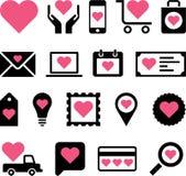 Icone romantiche di affari Immagine Stock Libera da Diritti