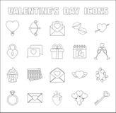 Icone romantiche messe Oggetti di San Valentino Illustrazione di Stock