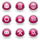 Icone rosa di web messe Fotografia Stock