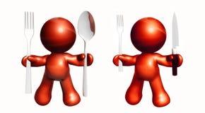 Icone rosse con pranzare gli utensili royalty illustrazione gratis
