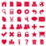 Icone rosse degli autoadesivi di Web [1] Fotografia Stock Libera da Diritti