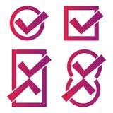 Icone rosse del segno di spunta Immagine Stock Libera da Diritti