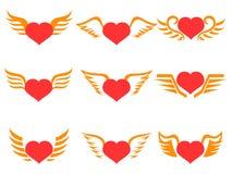 Icone rosse delle ali del cuore messe Fotografia Stock