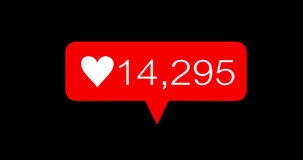 Icone rosse di amore di numero di conteggio di animazione messe archivi video