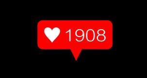 Icone rosse di amore di numero di conteggio di animazione messe stock footage