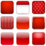 Icone rosse di app. illustrazione di stock