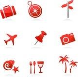 Icone rosse di turismo Fotografia Stock