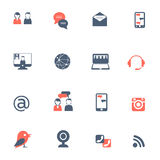 Icone rosse nere della rete sociale messe Fotografie Stock Libere da Diritti