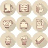 Icone rotonde beige della prima colazione Fotografie Stock Libere da Diritti