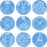 Icone rotonde degli elementi marini messe Immagine Stock