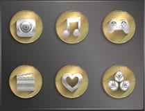 Icone rotonde del metallo piane Immagine Stock