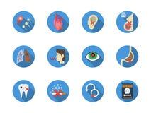 Icone rotonde di colore di dipendenza del tabacco messe Immagine Stock Libera da Diritti
