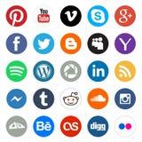 Icone rotonde di media sociali Fotografie Stock