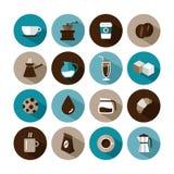 Icone rotonde di progettazione del caffè Fotografie Stock Libere da Diritti