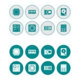 Icone rotonde di web del hardware messe - ciano scuro Immagine Stock