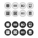Icone rotonde di web del hardware messe - Grey Fotografie Stock