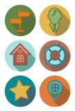 Icone rotonde nei colori della foresta Immagine Stock