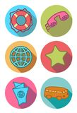 Icone rotonde nei colori luminosi Fotografie Stock Libere da Diritti