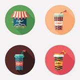 Icone rotonde piane delle tazze di caffè della carta e della caffetteria Fotografie Stock